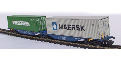 VAGON PORTACONTENEDORES DB.  EVERGREEN + MAERSK