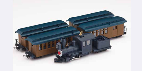 SET LOCOMOTORA + 4 COCHES MARRON