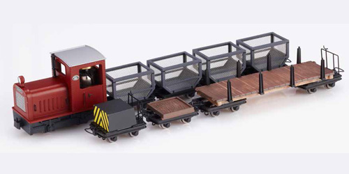 Set Gmeinder Loco red plus 7 Cars